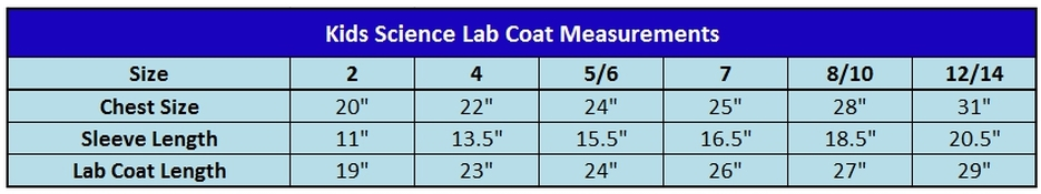 Kids Science Lab Coat Size Chart
